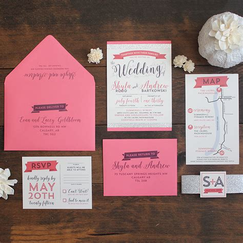 Wedding Invitation Suite by Modern Glam Wedding Invitation Suite Wedding Invitations