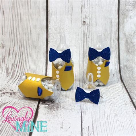 Bow Tie Baby Shower Favors by Bow Tie Baby Shower Baby Bottles Favors In Glitter