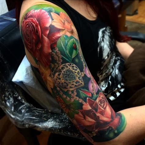 realistic flower tattoo realistic roses with locket and bug color