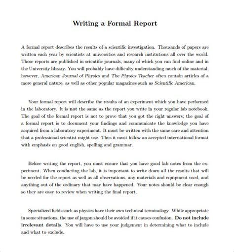 24 Sle Formal Reports Sle Templates Simple After Report Template