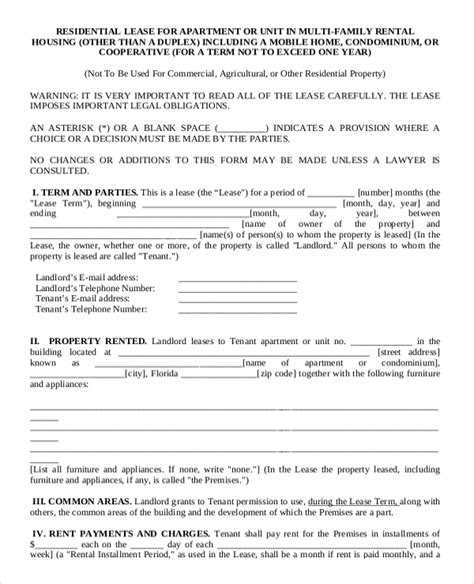 apartment rental agreement template 13 apartment rental agreement templates free sle