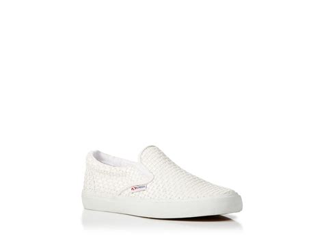 white slip on sneakers for superga slip on sneakers woven leather in white lyst