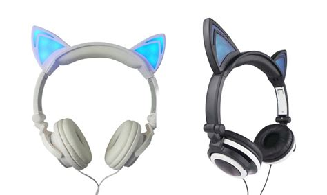 light up cat ear headphones jamsonic light up cat headphones groupon goods