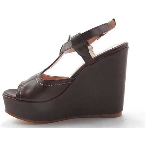 brown wedge sandals small or large wedge sandal in brown leather