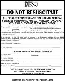 the new jersey do not resuscitate form can help you make a