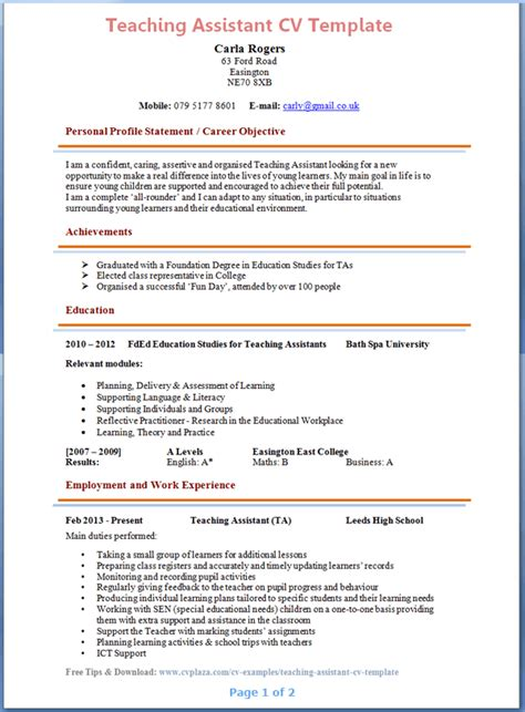 Teaching Cv Template teaching assistant cv exle