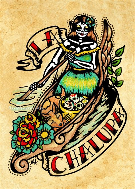 day of the dead tattoo art la chalupa loteria print 5 x 7 8 x