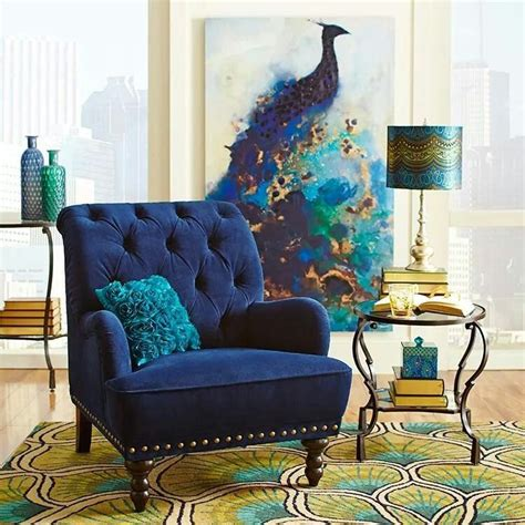 peacock bedroom painting and chair everything else is too much peacock