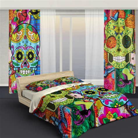 skull bedroom curtains sugar skull bedding curtains sugar skull culture