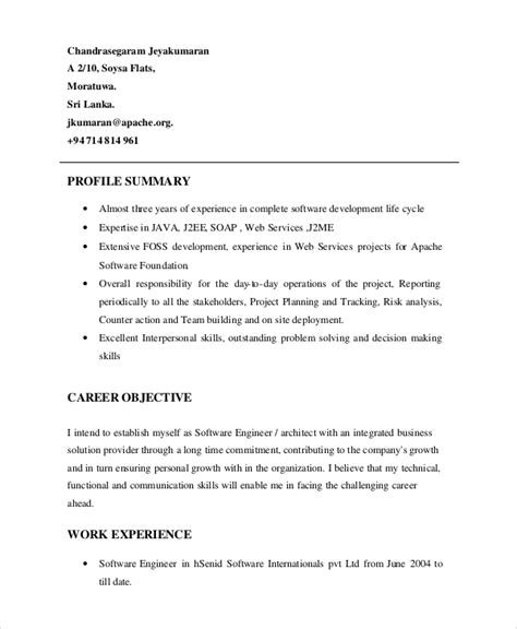 profile summary in resume for freshers resume profile exle 7 sles in pdf word