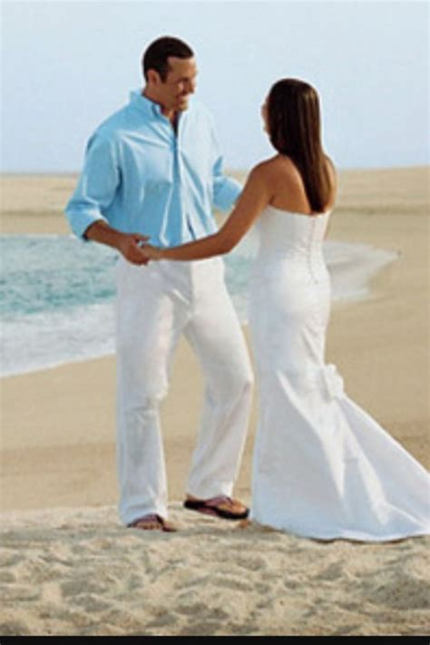 Men turquoise shirts white pants or shorts   Wear   Beach