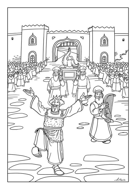 coloring page for king david david brings the ark to jerusalem buscar con google