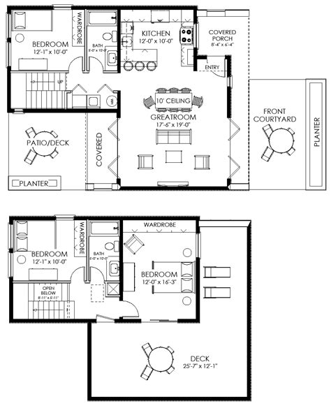 modern home design floor plans contemporary small house plan