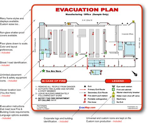 evacuation plan template for office office emergency evacuation plans evacuation maps