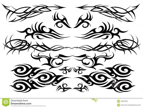 tribal tattoo set one stock vector image of animal