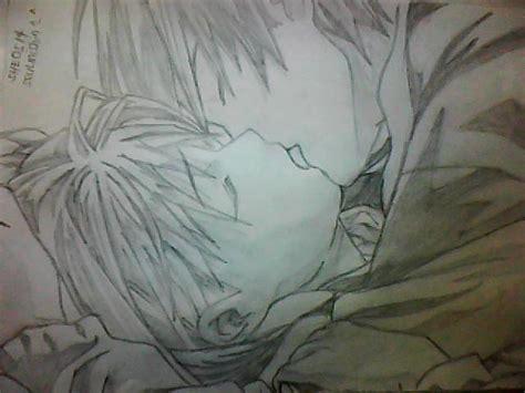 anime romance kiss drawing www imgkid com the image
