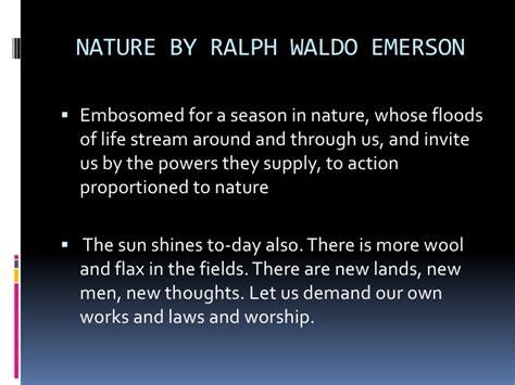 Ralph Waldo Emerson Essay Nature Summary by Ralph Waldo Emerson