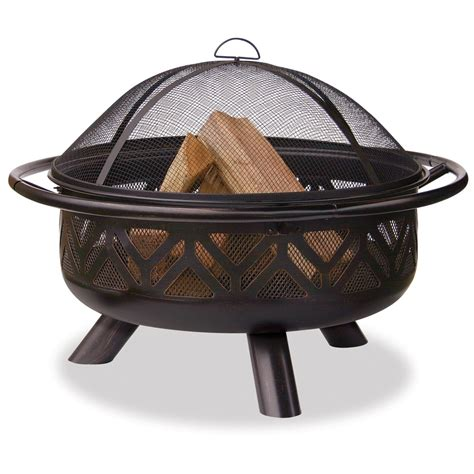 lowes firepit shop uniflame bradford 36 in w bronze steel wood burning