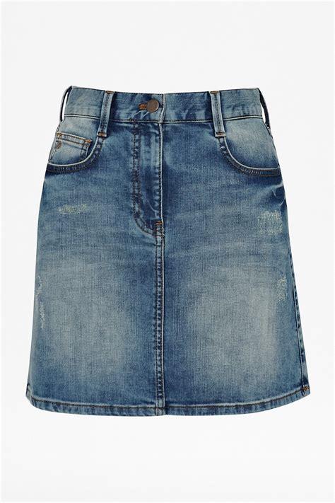 aspect blue denim skirt skirts shorts connection