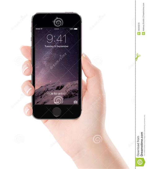 apple space gray iphone 5s with lock screen on the display in fe editorial stock photo image
