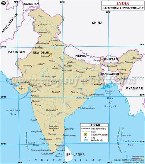 latitude and longitude maps india latitude and longitude map