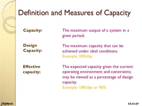 design effective and actual capacity process strategies and capacity planning