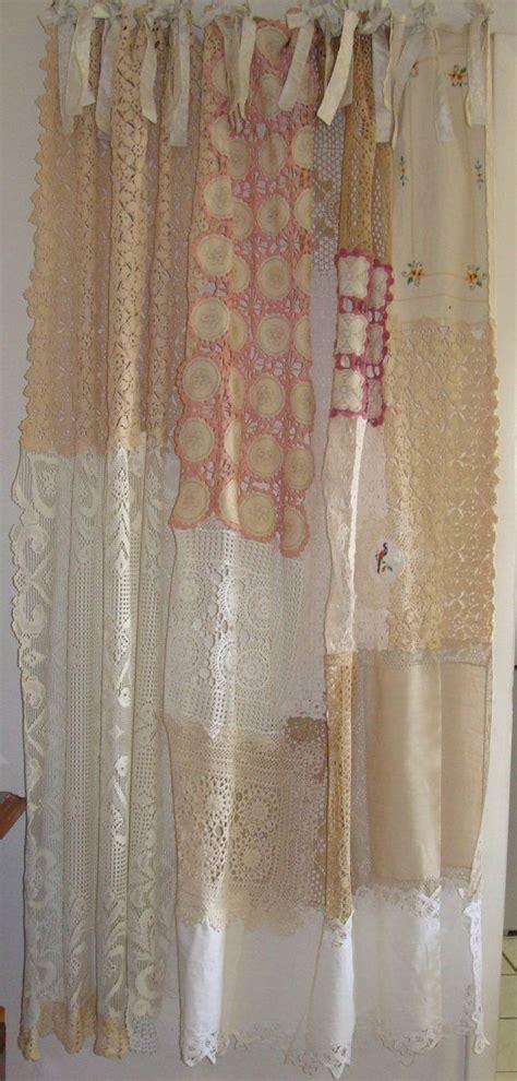 shabby chic shower curtain vintage crochet shabby chic