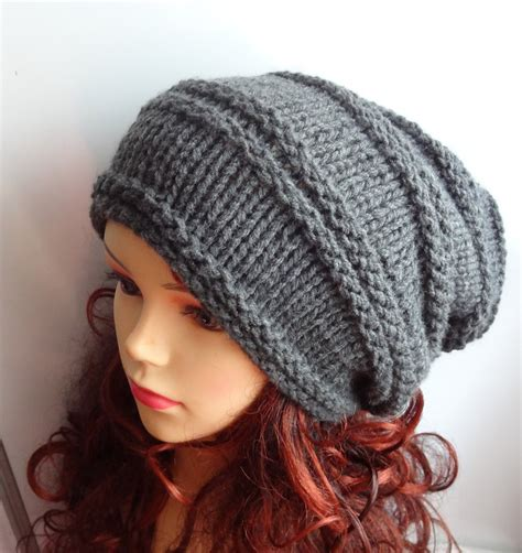 knit winter hat knit hat slouchy gray or any color hat