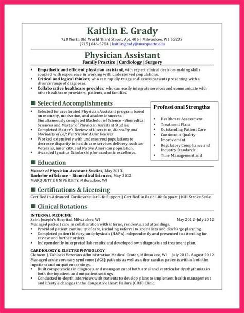 professional resume sles for doctors physician assistant resume bio letter format