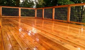 Deck design implemented all western red cedar with 4x4 welded wire