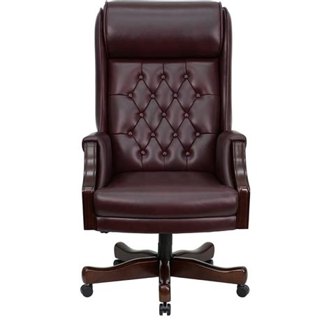 tufted leather executive office chair flash furniture high back traditional tufted burgundy