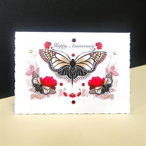 Red Rose and Butterfly Handmade Anniversary Card