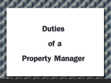 duties of a property manager authorstream