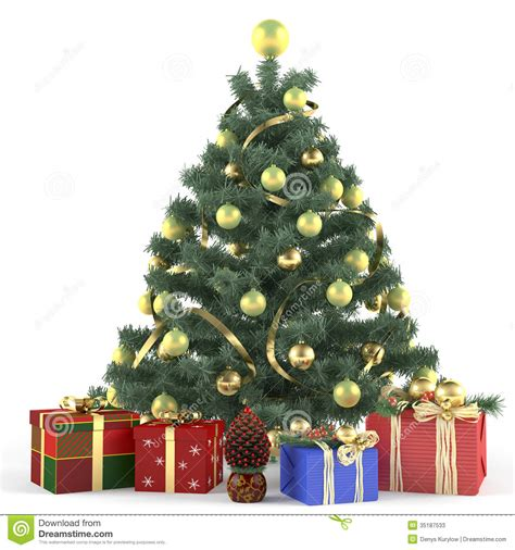 christmas tree decorated with toys stock photos image