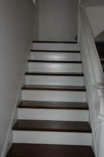 Staining Stairs Dark by Dark Stained Stair Treads White Risers Stair Project