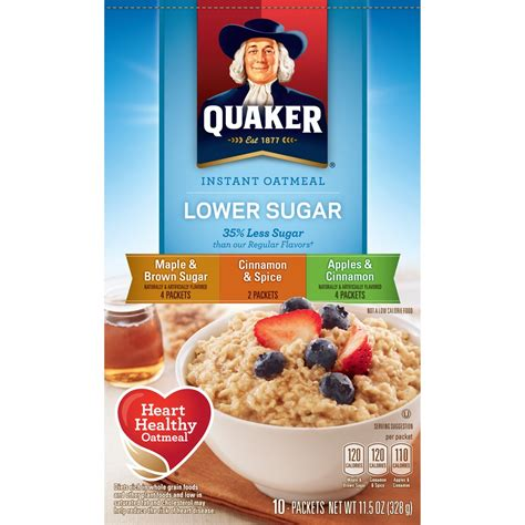 Instant Oatmeal by Quaker Instant Oatmeal Lower Sugar Flavor Variety Pack