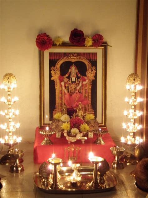 decoration for puja at home lord venkatesa pooja room pooja space pinterest