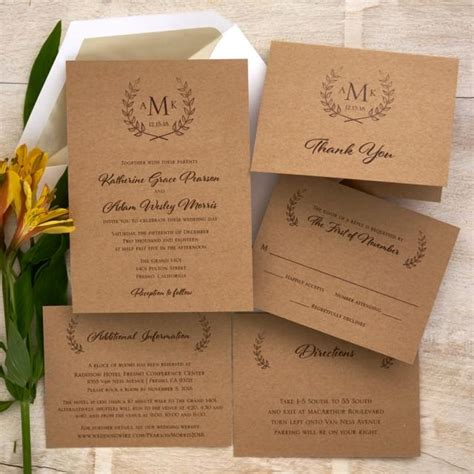 monogram wedding invitation set rustic wedding invitation set monogram wedding invite cottage chic wedding invitation suite