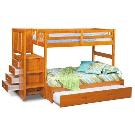 Bunk Beds With Stair Ranger Bunk Bed With Storage Stairs Trundle Pine American Signature Furniture