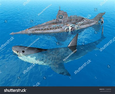 the shark names the submarine whale watching boat fantasy submarine giant shark computer generated stock
