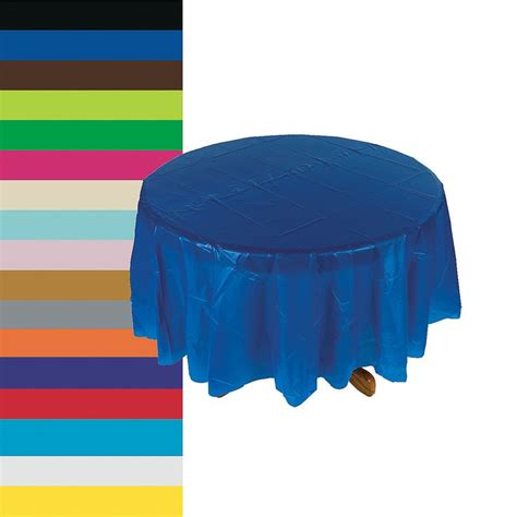 light gray plastic tablecloth round covers blue turquiose light blue choose