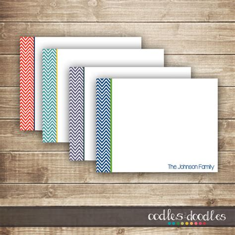 printable flat note cards chevron personal stationery personalized flat note card