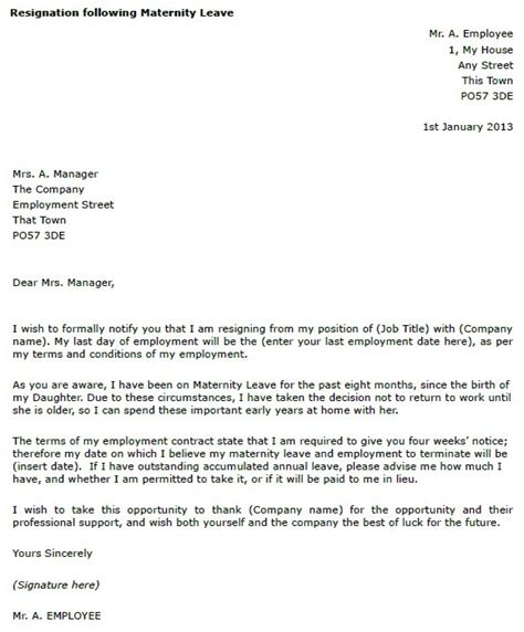 Resignation Letter After Maternity Leave Australia Sle Resignation Letter Due To Pregnancy Docoments Ojazlink