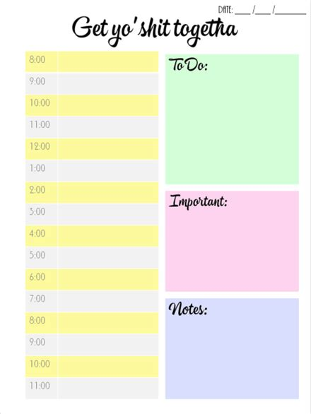 daily planner template tumblr study planner printable tumblr