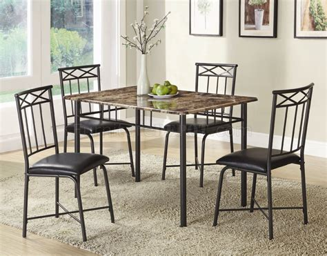 faux marble top black metal legs modern 5pc dinette set