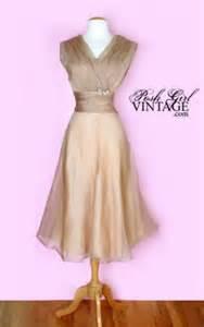 Light beige organza tea length dress vintage wedding dress dresses