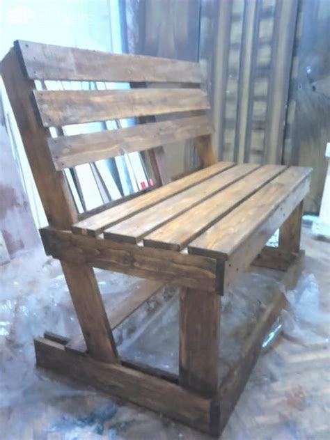 diy pallet bench seat diy benches from 2 pallets 1001 pallets