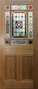 9 pane victorian style stained glass doors