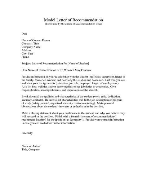 samples of letters recommendation sample letter for employm on