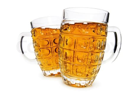 Cool Mugs Beer Glasses Isolated On The White Background Stock